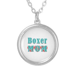Boxer Mom Hearts Round Pendant Necklace