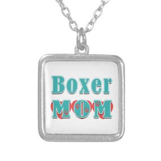 Boxer Mom Hearts Square Pendant Necklace