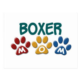 BOXER MOM Paw Print 1 Post Card