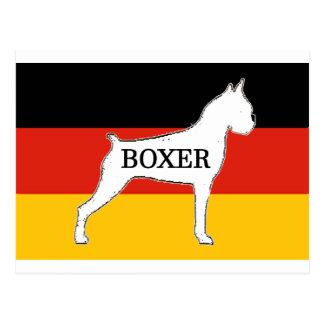 boxer name silo on flag white postcard