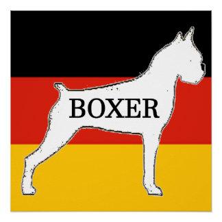boxer name silo on flag white poster