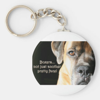 Boxer:  Not Just Another Pretty Face Basic Round Button Keychain