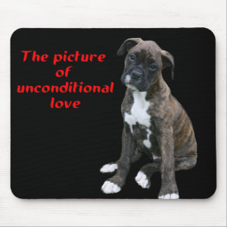 Boxer:  Picture of unconditional love Mouse Pad