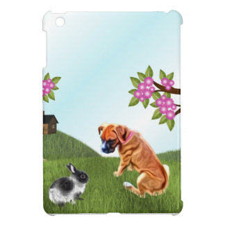 Boxer Pup and Bunny in Grass Cover For The iPad Mini