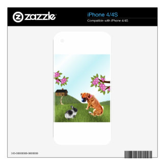 Boxer Pup and Bunny in Grass iPhone 4S Decals