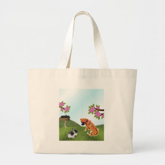 Boxer Pup and Bunny in Grass Large Tote Bag