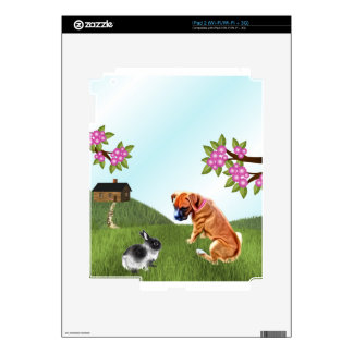 Boxer Pup and Bunny in Grass Skins For The iPad 2