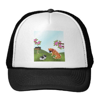 Boxer Pup and Bunny in Grass Trucker Hat
