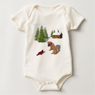 Boxer Pup and Cardinal Baby Bodysuit