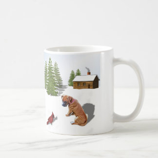 Boxer Pup and Cardinal Coffee Mug