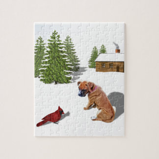 Boxer Pup and Cardinal Jigsaw Puzzle