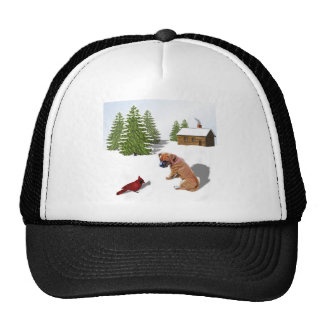 Boxer Pup and Cardinal Trucker Hat