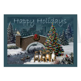 Boxer Puppies Christmas Evening Greeting Card
