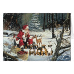 Boxer Puppies Christmas Santa Greeting Card