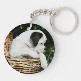 Boxer Puppies in Basket Keychain