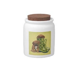 Boxer Puppies Rain Boots Candy Jar