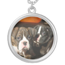 Boxer puppies silver necklace