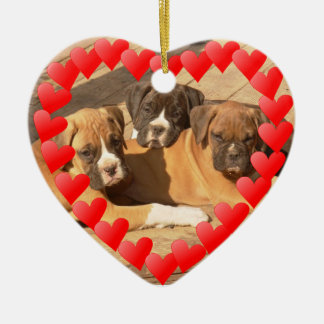 Boxer puppies Valentine's Heart ornament