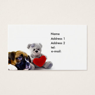 Boxer puppy and teddy  bear business card