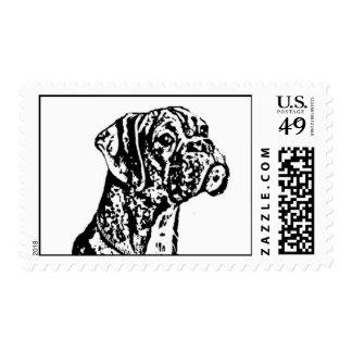Boxer puppy art postage