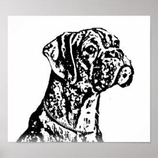 Boxer puppy Art Poster print