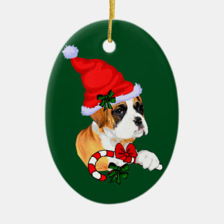 Boxer Puppy Christmas Ceramic Ornament