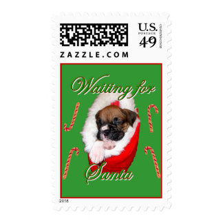 Boxer puppy Christmas postage