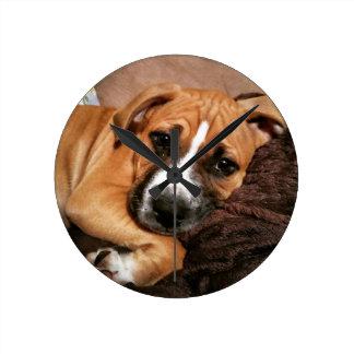 Boxer Puppy Round Clocks