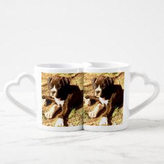 Boxer puppy coffee mug set