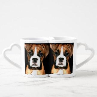 Boxer puppy dog coffee mug set