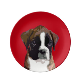 Boxer puppy dog dinner plate