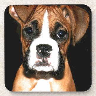 Boxer puppy dog drink coaster