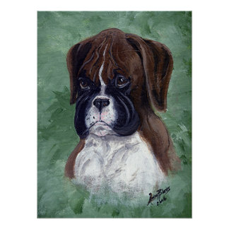 Boxer Puppy Dog Poster Print