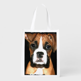 Boxer puppy dog reusable grocery bags
