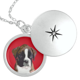 Boxer puppy dog sterling silver necklace