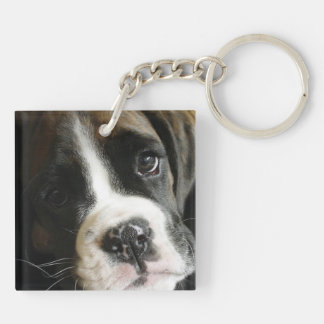 Boxer Puppy Double Sided Keychain