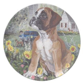 Boxer Puppy Dreamer Dinner Plate