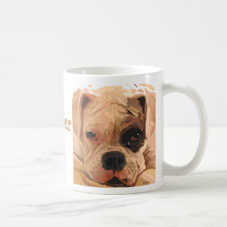 Boxer Puppy Face white with black eye mug