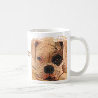 Boxer Puppy Face white with black eye mug