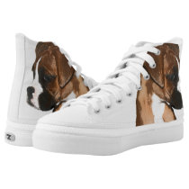 Boxer puppy high top tennis shoes