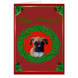 Boxer puppy Holiday greeting card