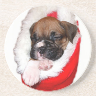 Boxer puppy in Christmas stocking coaster