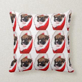 Boxer puppy in stocking throw pillow