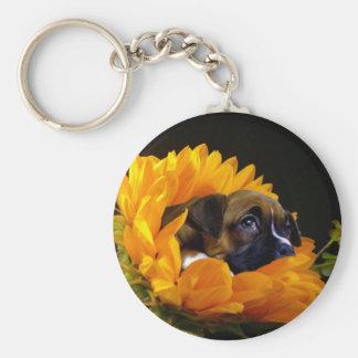 Boxer puppy in Sunflower keychain