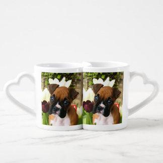 Boxer puppy in tulips coffee mug set
