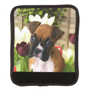 Boxer puppy in tulips handle wrap