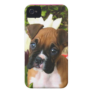 Boxer puppy in tulips iPhone 4 case