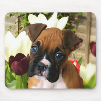 Boxer puppy in tulips mousepad