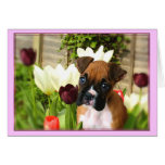 Boxer puppy in Tulips Notecard Greeting Card