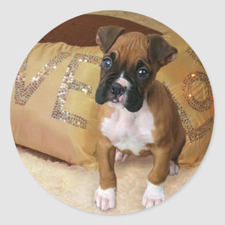 Boxer puppy love stickers